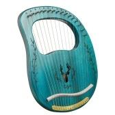 Muslady 16 Saite Verbesserte Lyre Harfe Tragbares Massivholz Harfen Saitenmusikinstrument mit Stimmschlüssel Clear Blue
