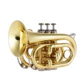 ammoon Mini Pocket Trompeta Bb Instrumento de viento de latón plano