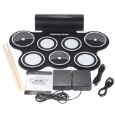 Portable Foldable Silicone Electronic Drum Pad Kit Digital USB MIDI Roll-up with Drumstick Foot Pedal 3.5mm Audio Cable