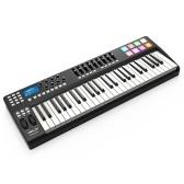 WORLDE PANDA49ポータブル49キーUSB MIDIキーボードコントローラ8 RGBカラフルなバックライト付きトリガーパッド付きUSBケーブル