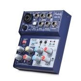 Muslady SM-35 Kompakte Größe 4-Kanal-Soundkarte Mischpult Digitale Audio-Mixer Unterstützt 5V Power Bank USB-Netzteil 2-Band-EQ Eingebaute 48V Phantomspeisung für die Aufnahme DJ-Netzwerk Live-Sendung Karaoke