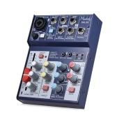 Muslady SM-36 Compatto Console audio a 4 canali Console di missaggio Mixer audio digitale Supporta 5 V Power Bank Alimentatore USB Built-in 48 V Phantom Power Equalizzatore a 3 bande con Volume Fader per registrazione DJ Network Live Broadcast Karaoke