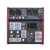 Muslady SM-66 Mezclador de consola de mezcla de tarjeta de sonido portátil de 4 canales Incorporado 16 efectos con interfaz de audio USB Admite banco de potencia de 5V para grabación Red de DJ Transmisión en vivo de karaoke