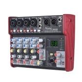 Muslady SM-68 Mezclador de consola de mezcla de tarjeta de sonido portátil de 6 canales Incorpora 16 efectos con interfaz de audio USB Admite un banco de potencia de 5V para la grabación de la red DJ Karaoke de transmisión en vivo