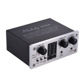Muslady 222A 2-Channel USB Audio System Interface External Sound Card +48V phantom power DC 5V Power Supply for Computer Smartphone With USB Cable