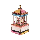 Wooden Hand Crank Music Box DIY Set Carousel Design Christmas Birthday Musical Gift Festival Presents for Friends Lovers