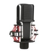 Microfono a condensatore con diaframma da 26 mm XLR Kit microfono a condensatore cardioide da studio con clip di montaggio antiurto Rack per microfono e custodia portatile per cantare Trasmissione di voci in streaming live