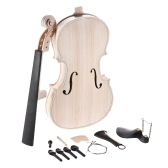 DIY 4/4 Full Size Natural Solid Wood Acoustic Violin Fiddle Kit Spruce Top Maple Back Neck Ebony Wood Fingerboard Accessory Tailpiece