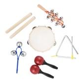 Set di fascia del ritmo del giocattolo di percussione degli strumenti musicali 6pcs