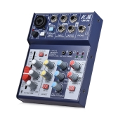 ICM UM-36 Compact Size 4-Channel Sound Card Mixing Console Digital Audio Mixer Supports 5V Power Bank USB Power Supply Built-in 48V Phantom Power 3-band EQ with Volume Fader for Recording DJ Network Live Broadcast Karaoke
