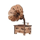 Wooden DIY Music Box Mini Phonograph Shaped Classical Melody Birthday Christmas Festival Musical Gifts Home Office Decor Crafts