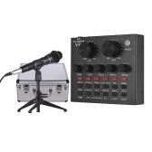 Externe Soundkarte USB Audio Interface + Verdrahtetes Kondensatormikrofon + Mikrofon Desktop Stativ + Monitor Kopfhörer mit Aluminiumlegierung Tragetasche für Online Singing Chaten Live Video Streaming Musikaufnahme