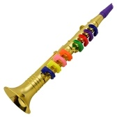 Musical Wind Instruments Clarinet for Kids Toddlers ABS Metallic Gold Clarinet with 8 Colored Keys