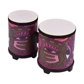 Bongo Drum Percussion Instrument Pigskin Drum Head Wood Musical Toy with Pair of Mallets