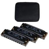 NAOMI 3個入りHoodooブルースハーモニカC、D、Gキーハーモニカセット10穴、ジッパー付きキャリングケース
