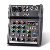 4-Channel Portable USB Mixing Console Digital Audio Mixer