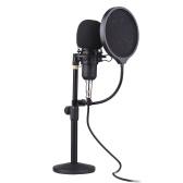 Muslady Microfono a condensatore professionale da tavolo con testa tonda Funzione di monitoraggio ad alta frequenza di campionamento Microfono condensatore plug-and-play con cavo XLR da 3,5 mm e staffa antiurto per telefono cellulare Computer desktop portatile
