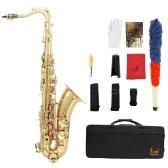 LADE Messing Bb Tenor Saxophon Sax geschnitzten Muster Perle weiße Schale Schaltflächen Blasinstrument mit RS Handschuhe Tuch Fett Gürtel Reinigungsbürste