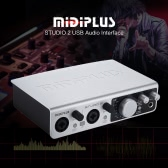 MIDIPLUS STUDIO 2 USB Audio scheda di interfaccia audio 2 ingressi 2 uscite 24bit / 192kHz alta precisione campionamento 48V Phantom Power Adapter con cavo USB 6,35 millimetri a 3.5mm