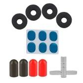 Kit de accesorios para batería con 4 piezas soporte de platillos fieltro Washeres + 4 piezas consejos de goma para palillos + 6pcs amortiguador de batería almohadillas de gel silenciador Mute + 1 pieza llave de tambor