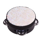 4 Inch Wooden Radiant Tambourine Handbell Hand Drum with Single Row Jingles Shining Reflective Drum Head