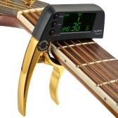 TCapo20 multifunktionale Aluminiumlegierung 2-in-1-Gitarre Capo Tuner mit LCD-Bildschirm für normale Folk-Gitarre chromatische Bässe