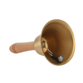Brass Hand Bell Loud Call Bell Handbell Desk Ringbell with Wooden Handle for Wedding Festival Decoration Food Line Alarm School Hotel Sercive