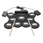 ポータブルUSBロールアップドラムキットデジタル電子ドラムセット9ドラムパッドとドラムパッド初心者のためのフットペダルペダル