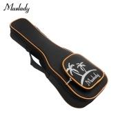 Muslady 21 Inch Soprano Ukulele Bag Uke Ukelele Zippered Case Coconut Tree Pattern Style with Adjustable Single Shoulder Strap Black