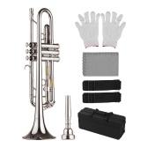 Muslady Standard Bb Trumpet Латунный материал Никелированный духовой инструмент