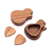 Delicado De Madeira Pick Pick Set Plectrum Storage Case Case Box com 2 pcs Guitar Picks Wood