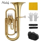 Muslady Brass B Flat Baritone Bb Wind Instrument Gold Lacquer Surface