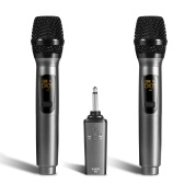 Portable 10-Channel Rechargeable Wireless Microphones UHF Mics with Receiver Working Distance 50 Feet
