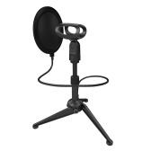 Portable Desktop Microphone Tripod Stand Bracket with Flexible Pop Filter 2pcs Mic Holders