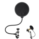 Double Layer Studio Microphone Wind Screen Shield Mesh Gooseneck Noise Filter