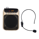 Mini amplificatore vocale portatile UHF Amplificatore Altoparlante Radio FM con microfono auricolare wireless Mic Support TF Card