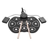 Compact Size USB Roll-Up Silicon Drum Set Digital Electronic Drum Kit 9 Drum Pads with Drumsticks Foot Pedals for Beginners Children Kids