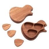 Delicate Wooden Guitar Pick Set Plectrum Storage Holder Case Box with 3pcs Guitar Picks Wood Guitar Accessories