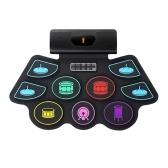 電子BTロールアップドラムセット9ボリュームスピードアジャスタブルシリコンドラムパッド、トーンチューニングおよびレコーディング機能付き