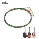 アリスAW435Cカラフルな虹のアコースティックフォークギター弦スチール&コーティングされた6本/セット(0.011から0.052)ゴールデンボールエンド
