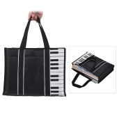 Waterproof Handbag Music Tote Shoulder Grocery Shopping Bag 5mm Cotton Padding with Piano Key Pattern