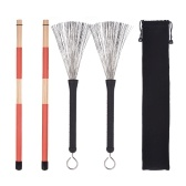 1 Pair Drum Rods Sticks + 1 Pair Drum Brushes Drum Stick Set with Storage Bag for Jazz Folk Music