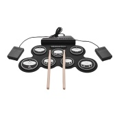 Compact Size USB Roll-Up Silicon Drum Set Digital Electronic Drum Kit 7 Drum Pads with Drumsticks Foot Pedals for Beginners Children Kids