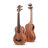 30 Inch Electric Bass Ukulele Ukelele Uke Sapele Plywood Body Padauk Fretboard Rubber Strings Built-in Tuner EQ with 3 Meters Audio Cable