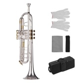 Muslady Prefessional Bb Trumpet Brass Material Silver Plated Surface Wind Instrument
