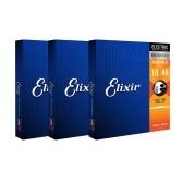 3 jeux Elixir 12052 Nanoweb revêtement en acier nickelé cordes de guitare électrique en acier léger 10-46 18 cordes