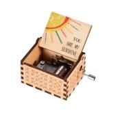 Mini caja de madera de madera manivela grabado vintage caja