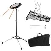 グロッケンシュピール30音符を含むグロッケンシュピールベルキット8インチ練習用パッド打楽器調整可能な高さ