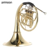 ammoon French Horn B/Bb Flat 3 Key Brass Gold Lacquer Single-Row Split Wind Instrument