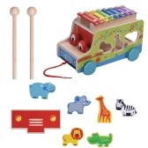 Multifunctional Wooden Pull Bus with 8 Notes Xylophone Glockenspiel